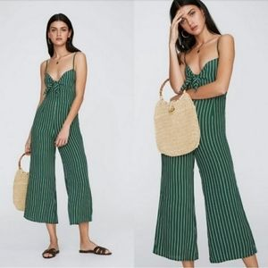 Faithfull the Brand Presley Green Striped Jumpsuit